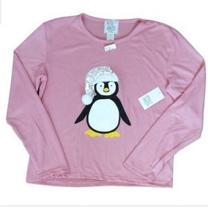Mentally Exhausted Junior Penquin Pink Tee Top L